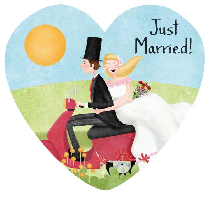 Muestra boda vespa novio moreno novia rubia